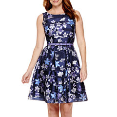 Danny & Nicole® Sleeveless Floral Shadow Stripe Fit-and-Flare Dress - Petite