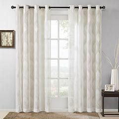 Madison Park Elin Ogee Jacquard Grommet-Top Curtain Panel