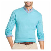 IZOD V Neck Long Sleeve Cotton Blend Pullover Sweater
