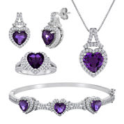 Lab-Created Amethyst and Cubic Zirconia 4-pc. Boxed Jewelry Set