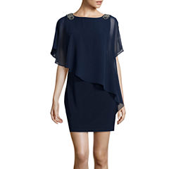 DJ Jaz Flutter Sleeve Embellished Cape Sheath Dress