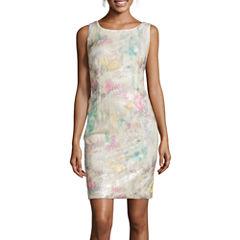 Studio 1® Sleeveless Printed Sequin Sheath Dress