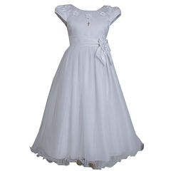 Bonnie Jean Short Sleeve Floral Applique Bodice Communion Dress - Girls' 7-12