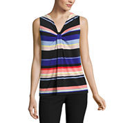 Worthington Essential Blazer, Sleeveless Knot-Neck Top, and Jacquard A-Line Skirt
