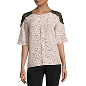 Worthington Short Sleeve Lace Shoulder Blouse-Petites