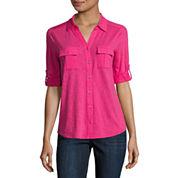 Liz Claiborne 3/4 Sleeve Roll Cuff Button-Front Shirt-Petites
