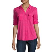 Liz Claiborne 3/4 Sleeve Roll Cuff Button-Front Shirt-Petites