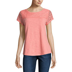 Liz Claiborne Short Sleeve Crew Neck T-Shirt-Womens