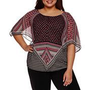 Alyx Short Sleeve Printed Woven Overlay Blouse-Plus