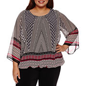 Alyx 3/4 Sleeve Round Neck Woven Blouse-Plus