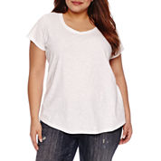 Boutique + Short Sleeve Scoop Neck T-Shirt-Plus