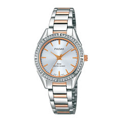 Pulsar® Womens Crystal-Accent Two-Tone Stainless Steel Bracelet Watch PH8129X