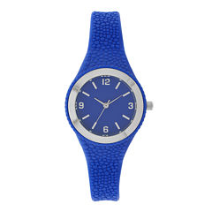 Womens Blue Rubber Strap Watch