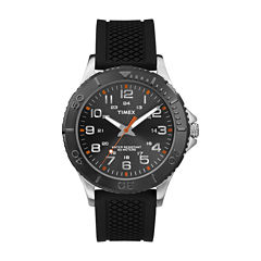 Timex® Main Street Mens Black Silicone Strap Watch