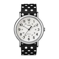 Timex® Weekender Womens Black Dot Strap Reversible Watch