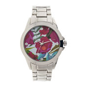 Womens Floral Dial Silver-Tone Bracelet Watch