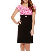 Alyx® Short-Sleeve Polka Dot Layered Sheath Dress - Petite