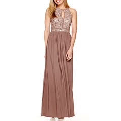 R&M Richards Sleeveless Lace Formal Halter Gown