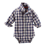 OshKosh B'gosh® Long-Sleeve Plaid Button-Front Bodysuit - Baby Boys 3m-24m