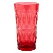 Outdoor Oasis™ Diamond Pink Facets Set of 4 Acrylic Highball Glasses