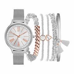 Fashion Watches Womens Silver-Tone Watch Boxed Set