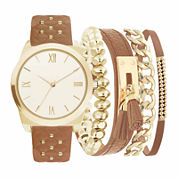 Mixit Womens Brown 5-pc. Watch Boxed Set-Jc2030g569-044