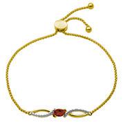 Sparkle Allure Womens 3/8 CT. T.W. Orange Garnet Gold Over Brass Bolo Bracelet