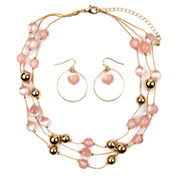 Mixit Womens Pink Beaded 3 Row Illusion Jewelry Set