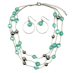 Mixit Womens  Green Beaded 3 Row Illusion Jewelry Set