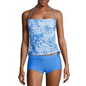 Arizona Mix & Match Geometric Bandeau Swimsuit Top-Juniors