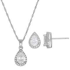 Diamonart Womens 2-pc. White Cubic Zirconia Sterling Silver Jewelry Set