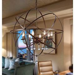 Warehouse Of Tiffany Jossie 8-light Crystal 30-inch Bronze-finish Chandelier