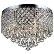 Warehouse Of Tiffany Trey 3-light Chrome 16-inch Crystal Flush Mount
