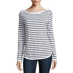 Liz Claiborne Long Sleeve Boat Neck T-Shirt