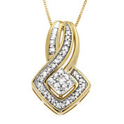 Diamond Blossom 1/4 CT. T.W. Diamond 10K Yellow Gold Cluster Pendant Necklace