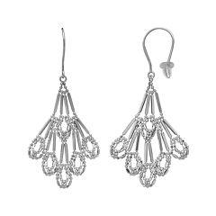 Sterling Silver Diamond-Cut Scallop Drop Earrings