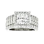 DiamonArt® Cubic Zirconia Sterling Silver  Frame Ring