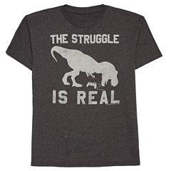 Boys Short Sleeve Oneliner Real Struggle T-Shirt-Big Kid