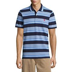 U.S. Polo Assn. Embroidered Short Sleeve Stripe Pique Polo Shirt