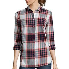 Stylus™ Long-Sleeve Back-Pleat Oversized Shirt- Petites