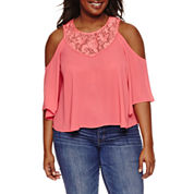 Decree Cold Shoulder Lace Inset Top - Juniors Plus