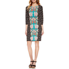 Nicole By Nicole Miller 3/4 Sleeve Bordered Shift Dress