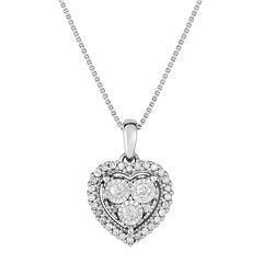 True Miracle Womens 1/4 CT. T.W. White Diamond Sterling Silver Pendant Necklace