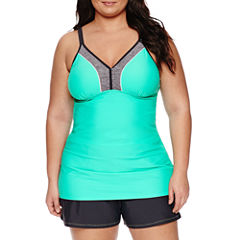 Free Country Solid Tankini Swimsuit Top-Plus