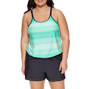 Free Country Stripe Blouson Swimsuit Top or Swim Shorts-Plus