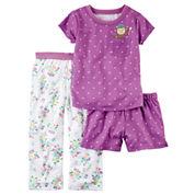 Carter'S Girls 3-Pc. Short Sleeve Poly Sleep Purple Pink Floral Short Set