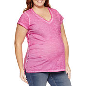 a.n.a Short Sleeve V Neck T-Shirt-Plus Maternity
