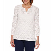 Alfred Dunner Scenic Route 3/4 Sleeve Split Crew Neck Lace Texture T-Shirt-Petites