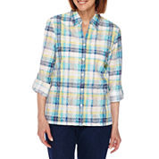Alfred Dunner Scenic Route 3/4 Roll-Sleeve Button-Front Plaid Shirt-Petites