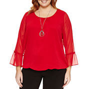Alyx Long Sleeve Round Neck Woven Blouse-Plus